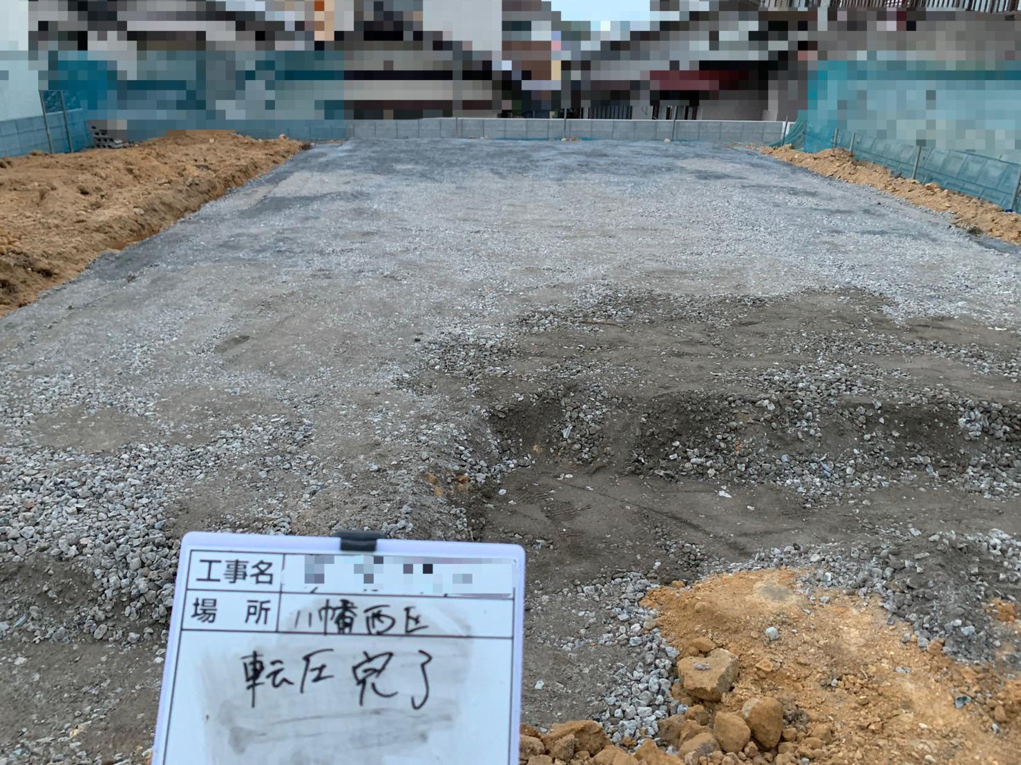 砕石敷き後転圧 地業工事完了